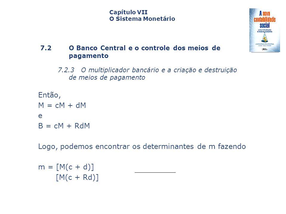 Logo, podemos encontrar os determinantes de m fazendo m = [M(c + d)]